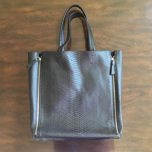 Handbags - Black Genuine Leather Stamped Zip Tote Bag